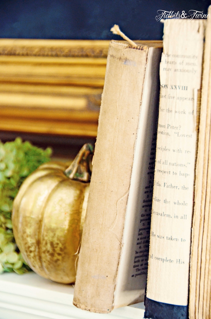 TIDBITS-&-TWINE-Fall-Hydrangea-and-Book-Mantel-Display