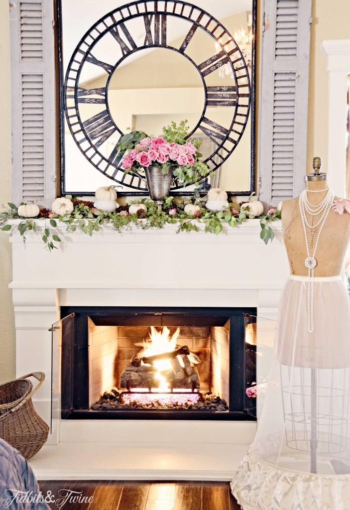 TIDBITS&TWINE--Fall-Bedroom-Mantel-Roses-and-Pumpkins3