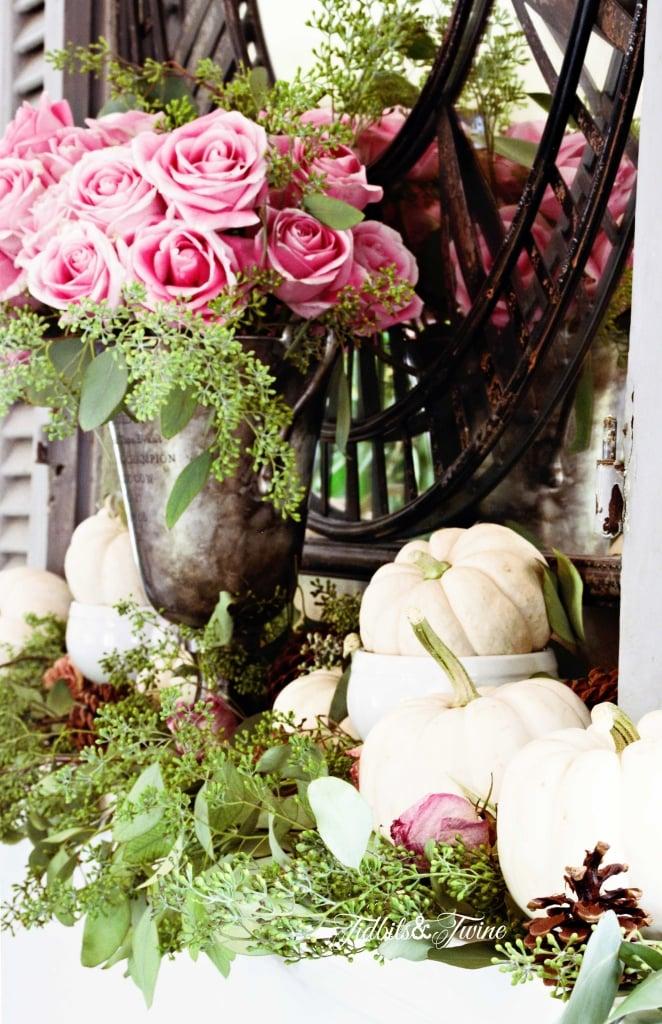 TIDBITS&TWINE--Pink-Rose-and-Pumpkin-Fall-Mantel3