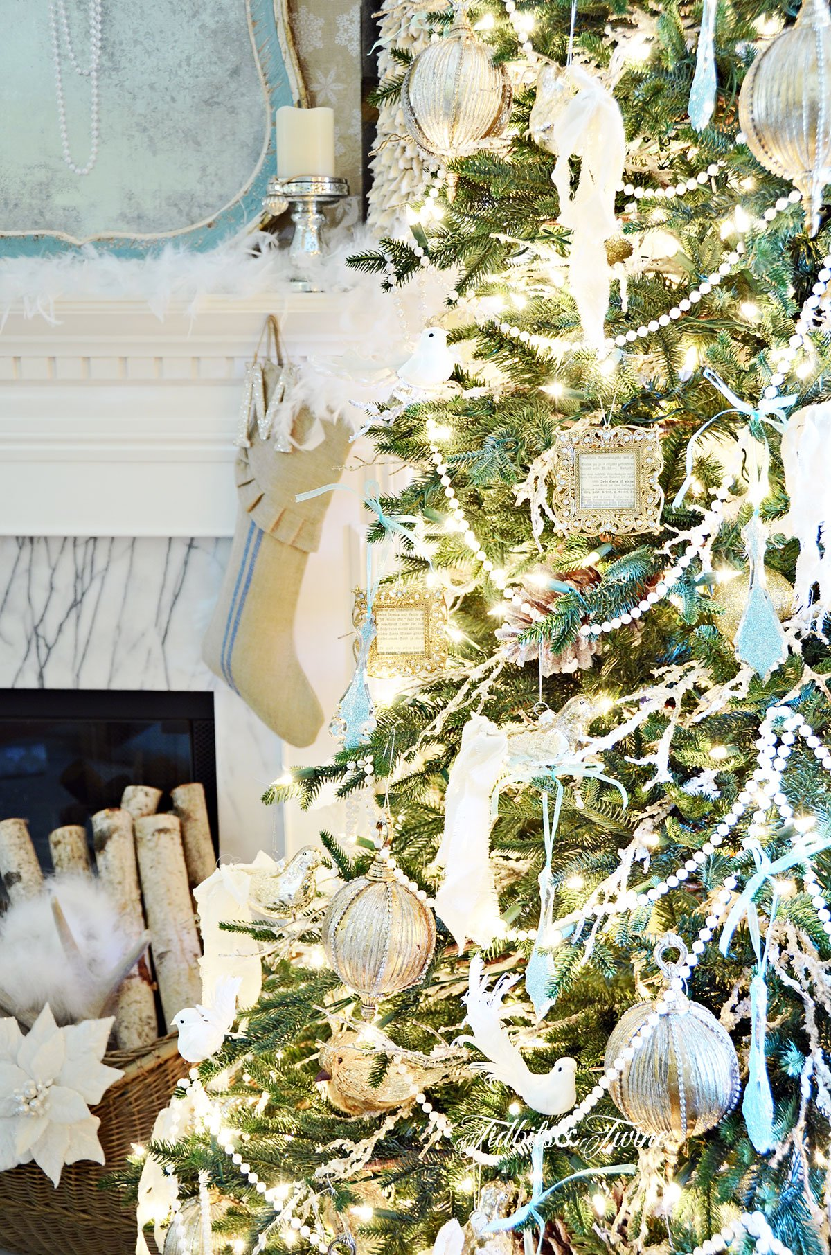 TIDBITS&TWINE French Vintage Christmas Tree with Snow Covered Branches 2015