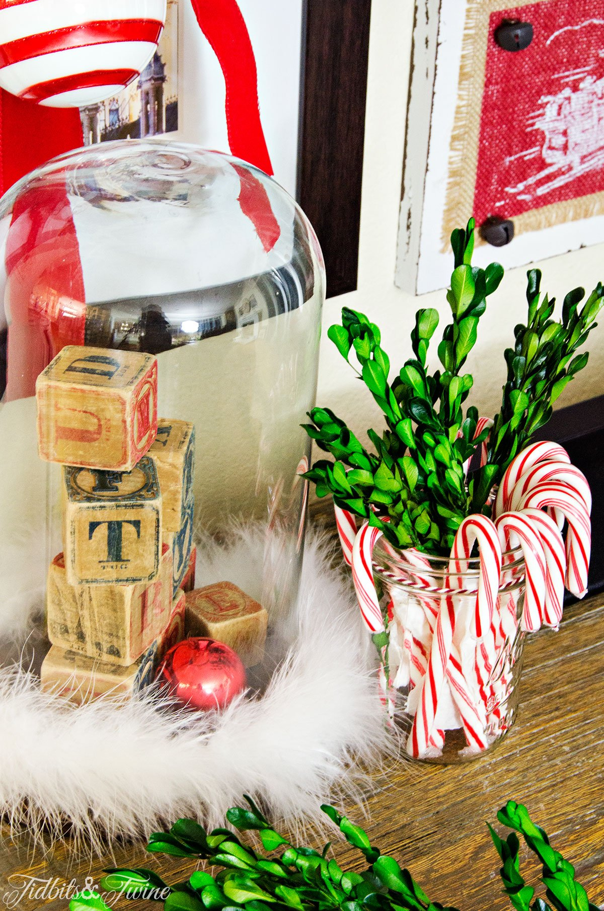 TIDBITS&TWINE Cloche and Candy Cane Vignette Christmas 2015