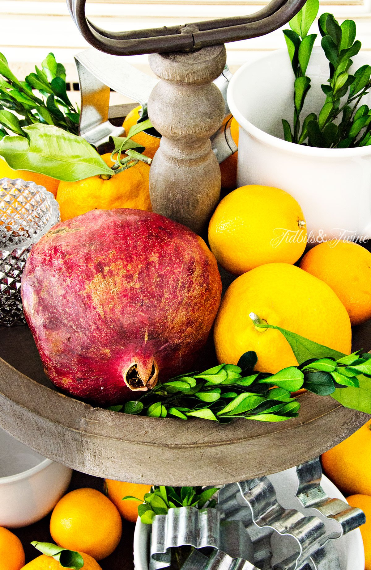 TIDBITS&TWINE - Christmas Kitchen 2015 with Boxwood, Pomegranates and Oranges