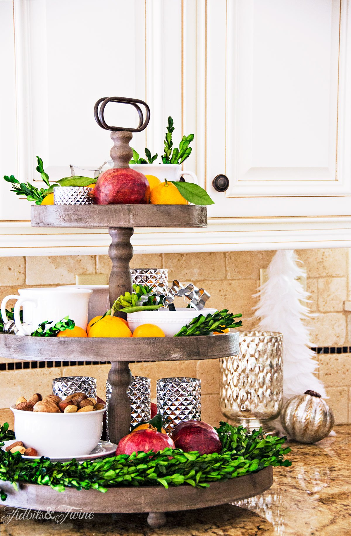 Rustic 3-tier Christmas kitchen display from Tidbits&Twine