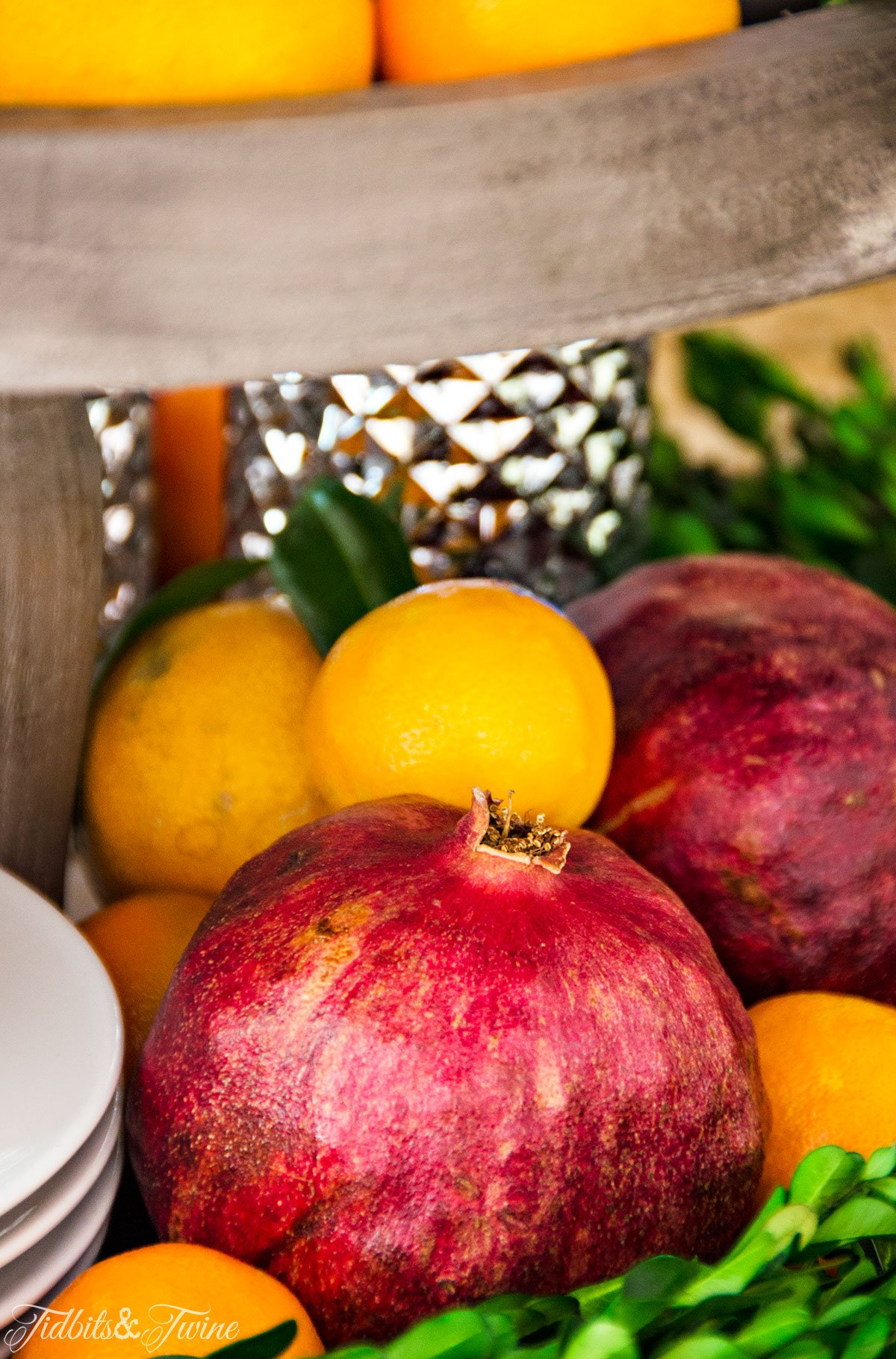 TIDBITS&TWINE Christmas Kitchen 2015 Pomegranate and Orange Vignette