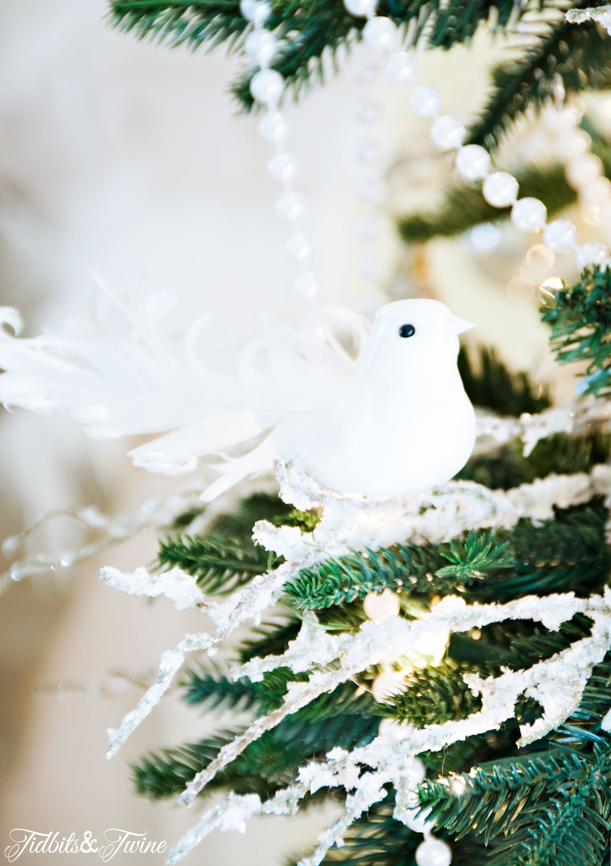 tidbitstwine white bird christmas tree ornament 2015 - Bird Christmas Decorations