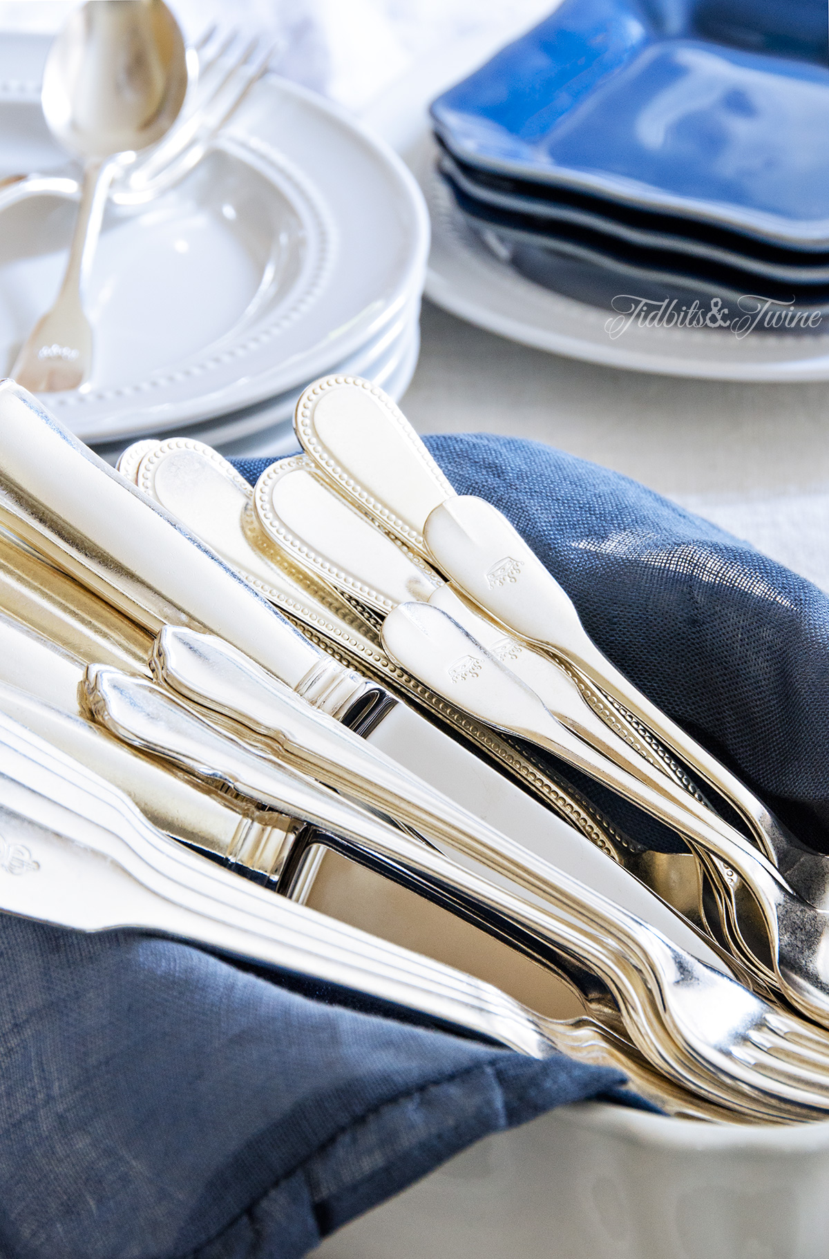 TIDBITS & TWINE Vintage Flatware and Ironstone Blue & White
