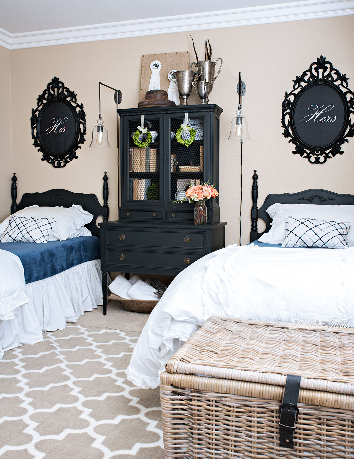 Tidbits&Twine Black and White French Bedroom with Baskets