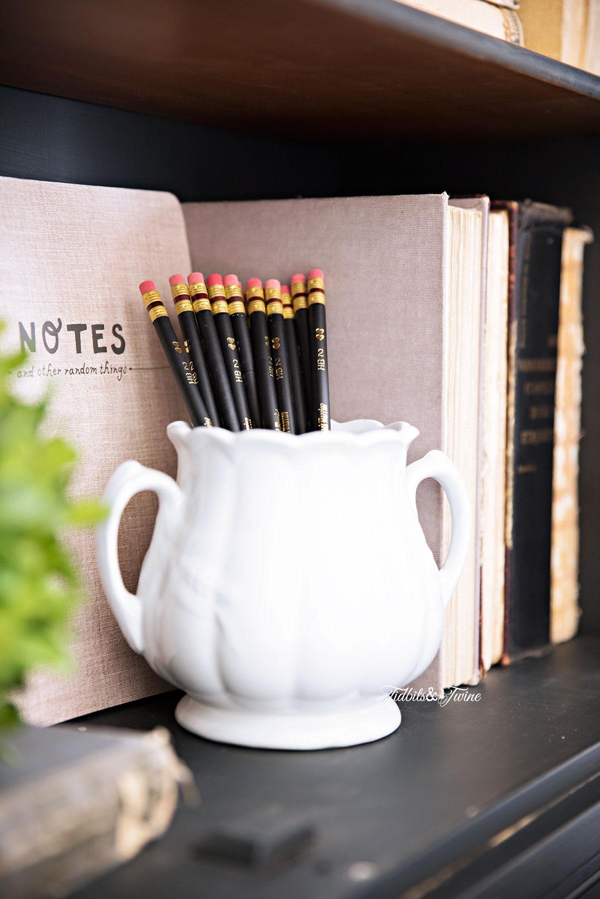 Tidbits&Twine Ironstone Sugar Pot and Vintage Books