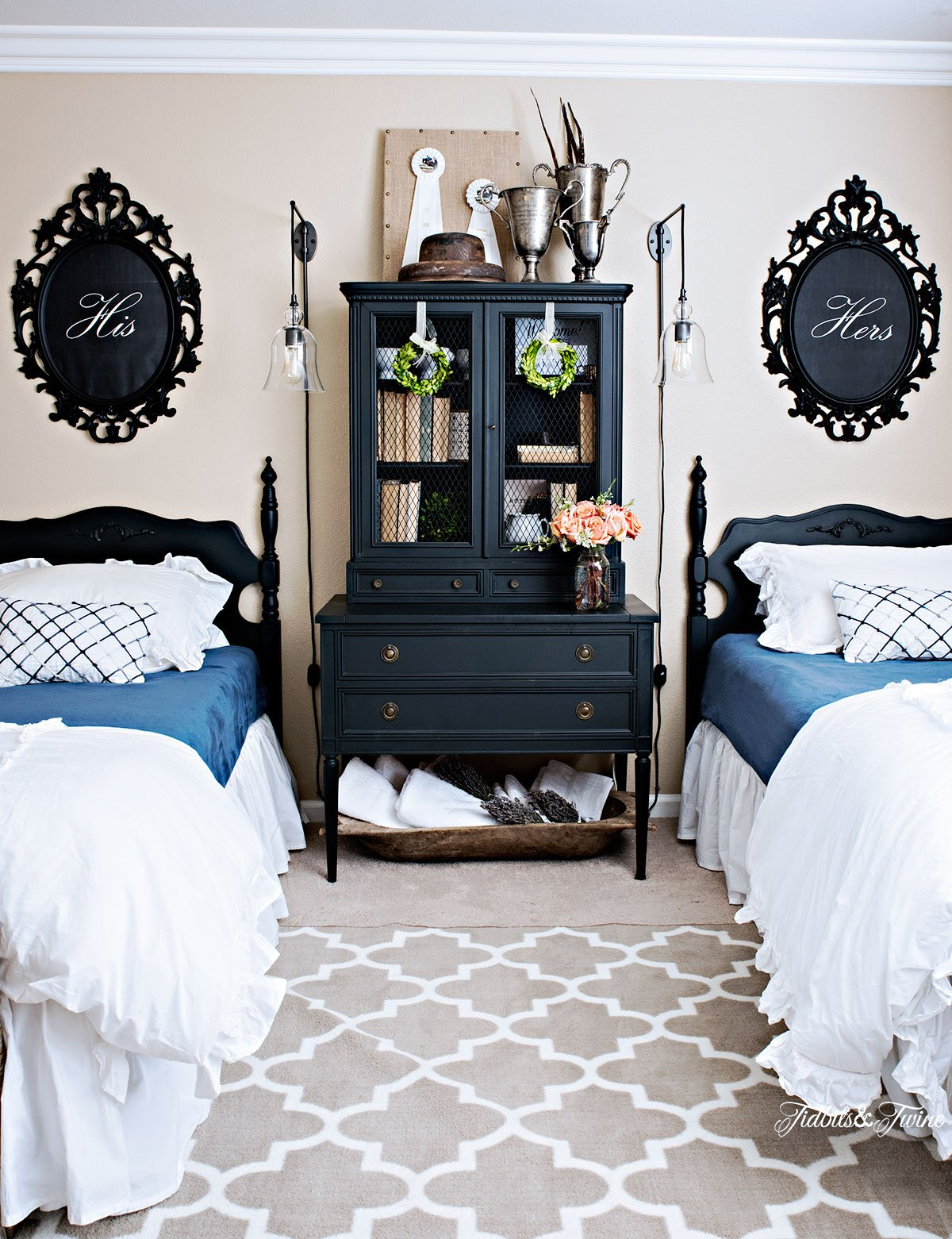 Tidbits Twine French Guest Bedroom Makeover With Twin Beds