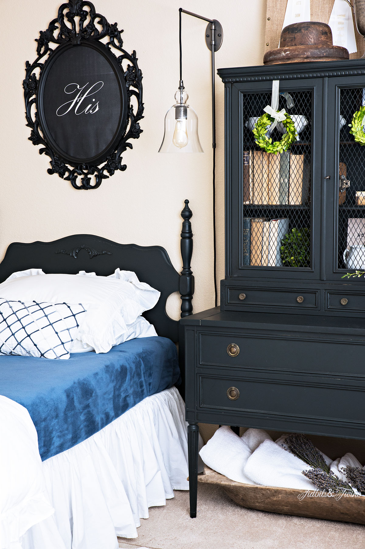 Tidbits&Twine Guest Bedroom with His and Hers Signs