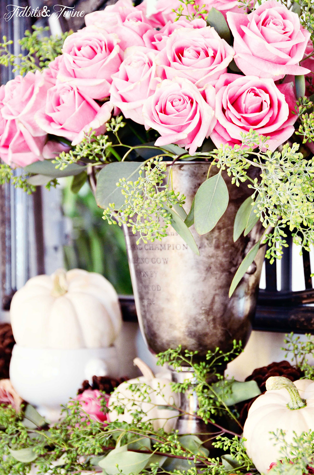 TIDBITSTWINE-Pink-Roses-and-White-Pumpkin-Mantel