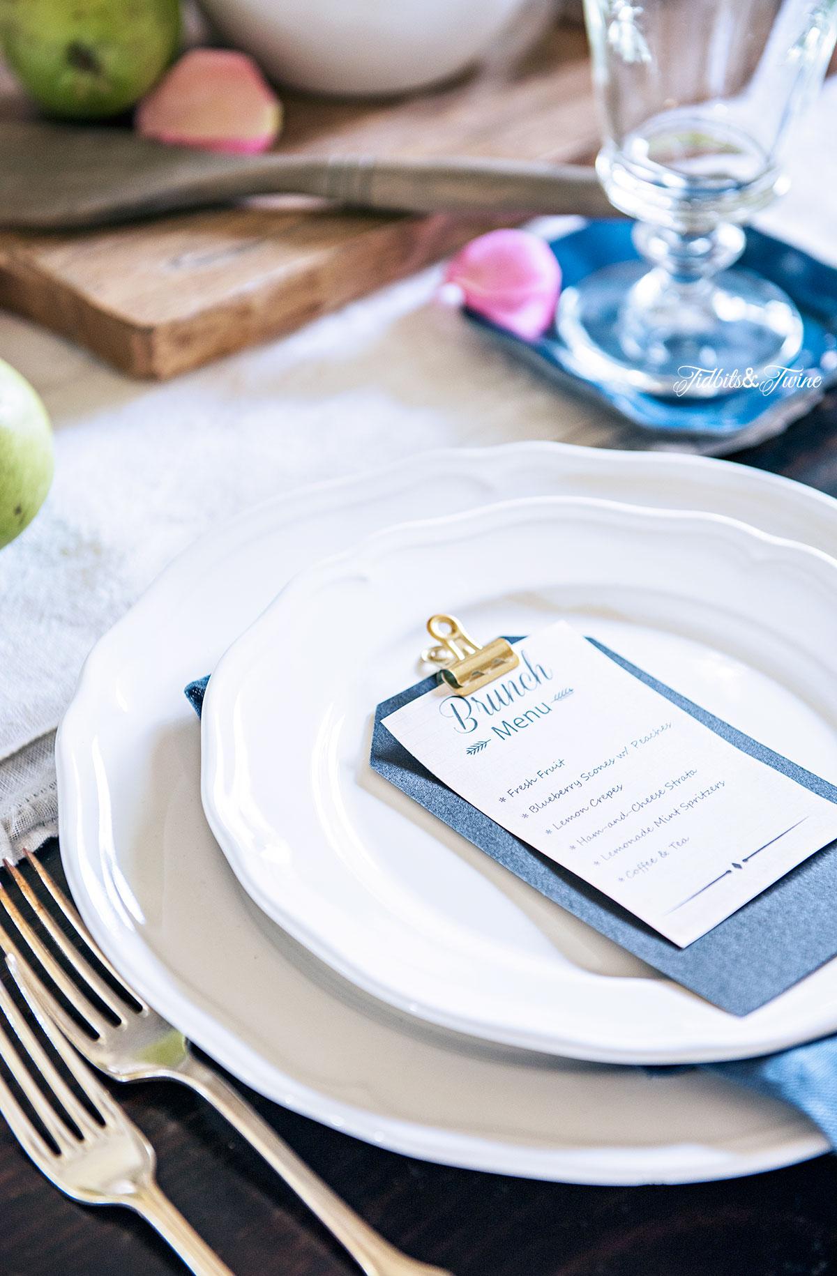 TIDBITS&TWINE Dining Room 2016 DIY Mini Menu Brunch Place Setting