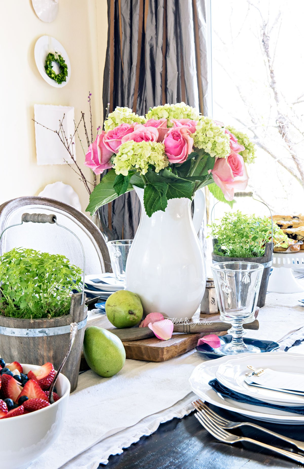 TIDBITS&TWINE Pink Green White and Blue Spring Dining Table Idea