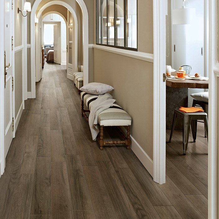 {Wood tile via Mannington}