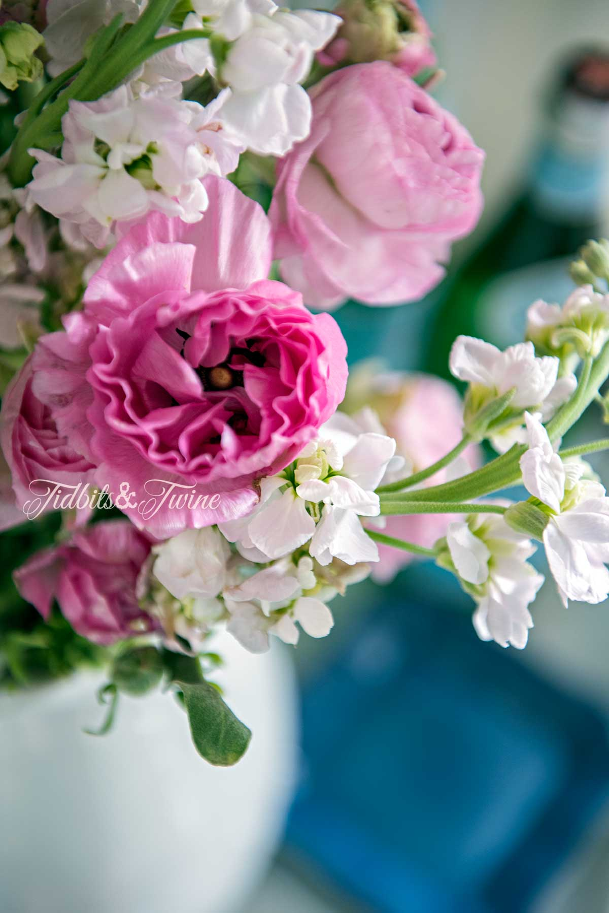 Closeup of pink peonies and white stock in a white ceramic pitcher