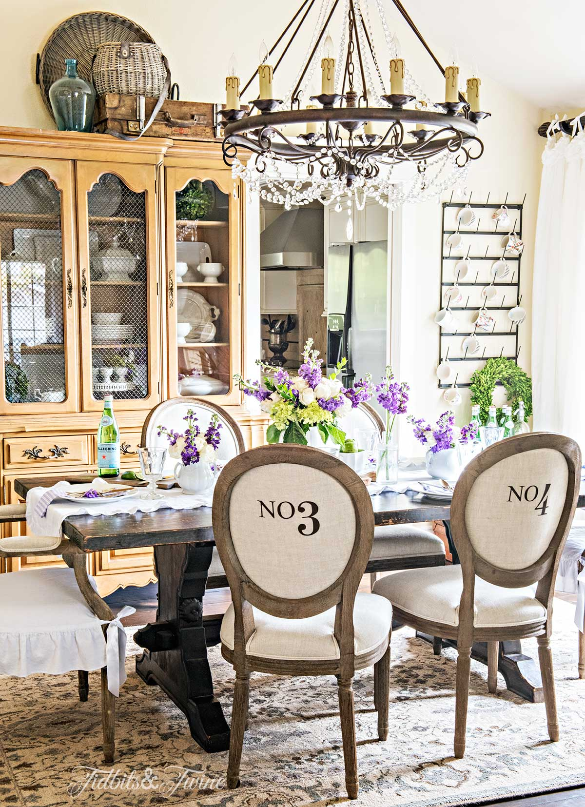 Tidbits&Twine French Dining Room Spring Decor with numbered RH chairs ironstone and crystal