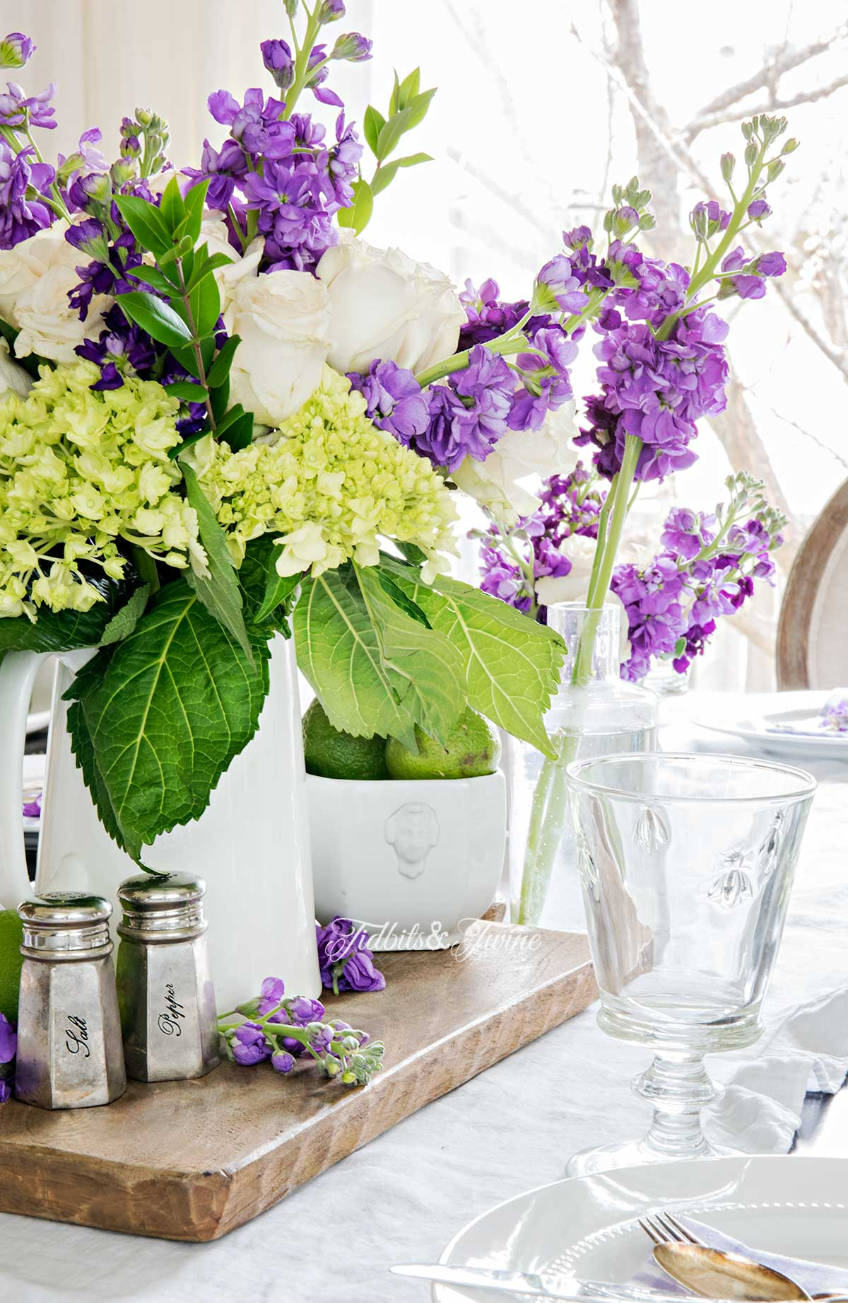 French purple and green spring dining room from Tidbits&Twine