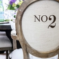 French numbered dining chairs