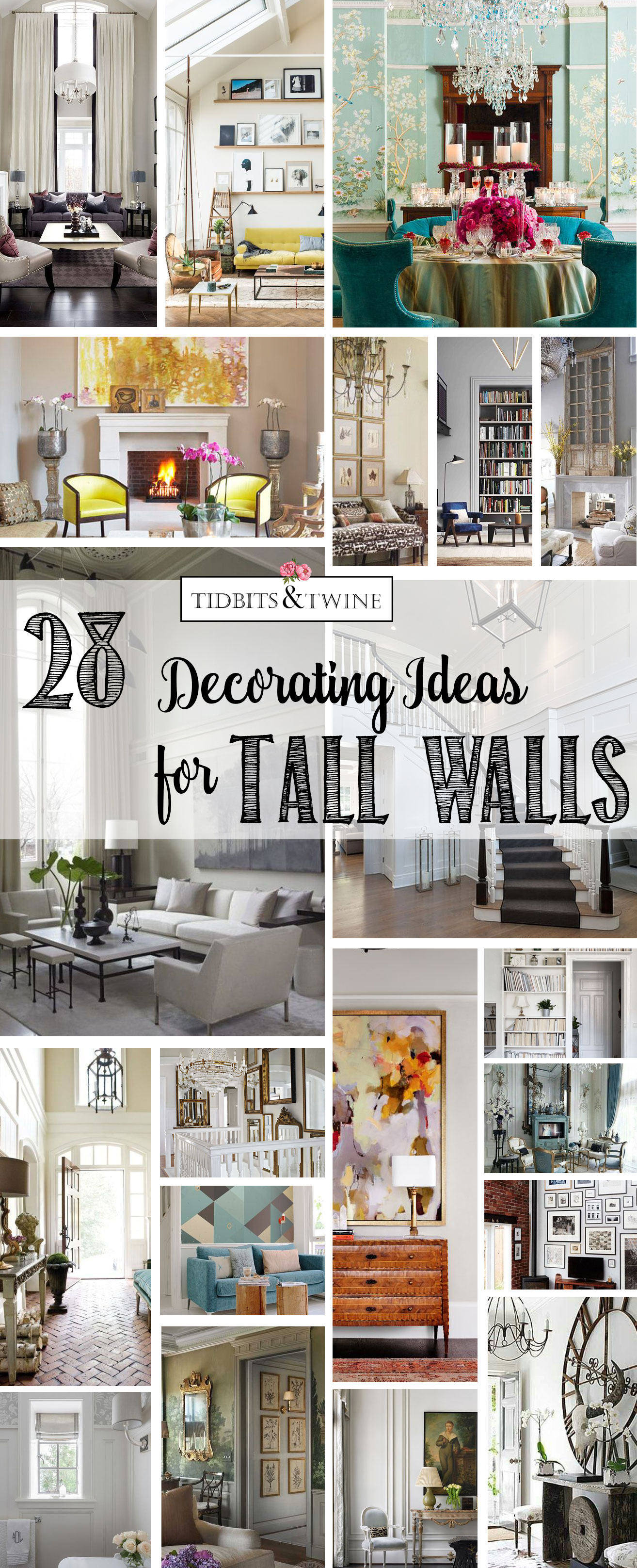 28 creative decorating ideas for tall walls tidbits twine - Family room wall decor ideas ...