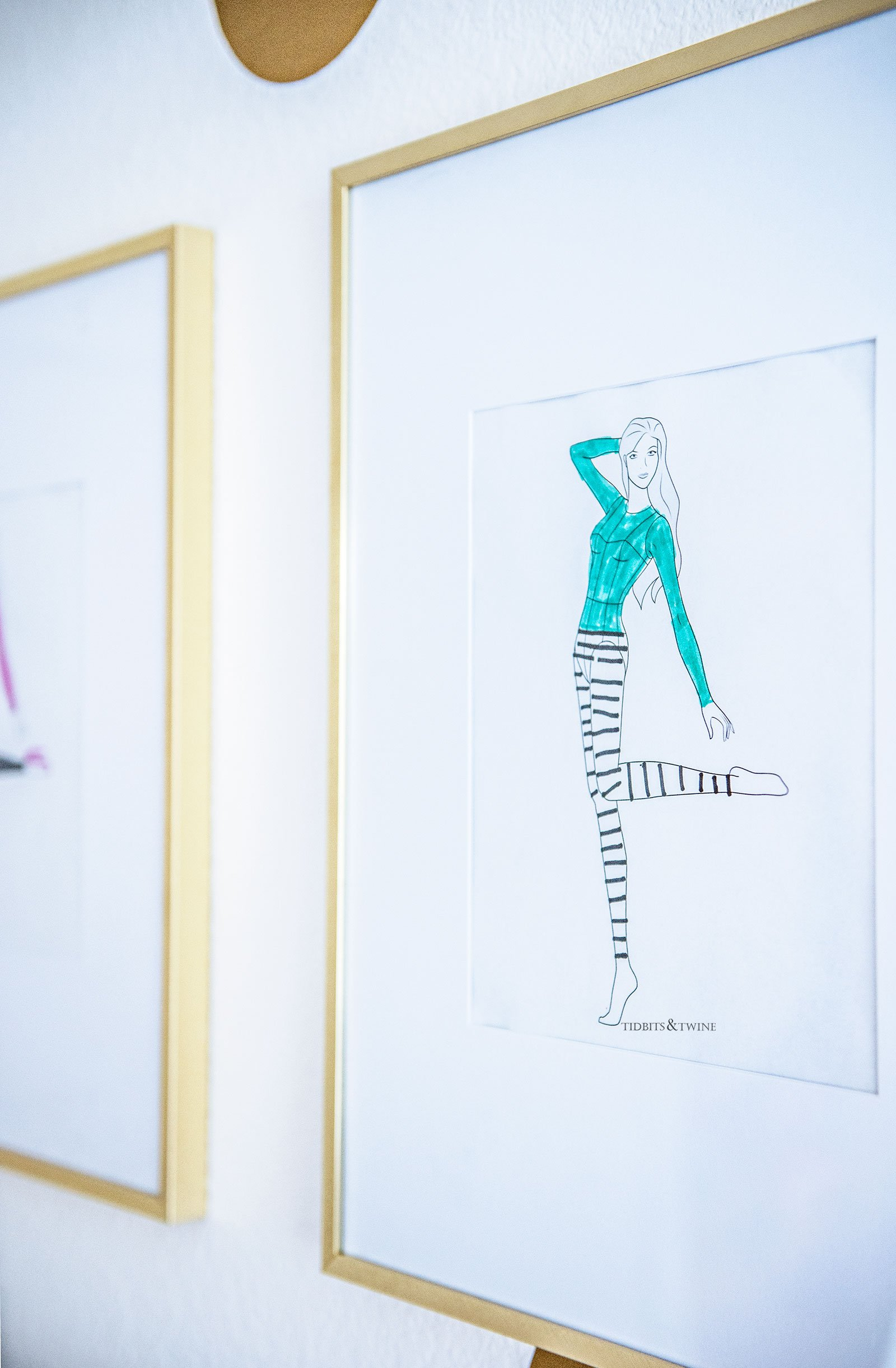 Fashion Sketch Croquis Gallery Wall Around Bed with Gold Frames