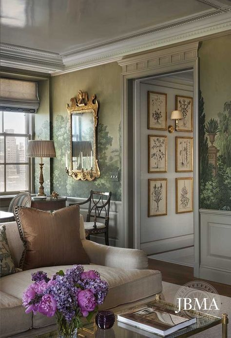 French wall mural depicting a green garden on living room walls