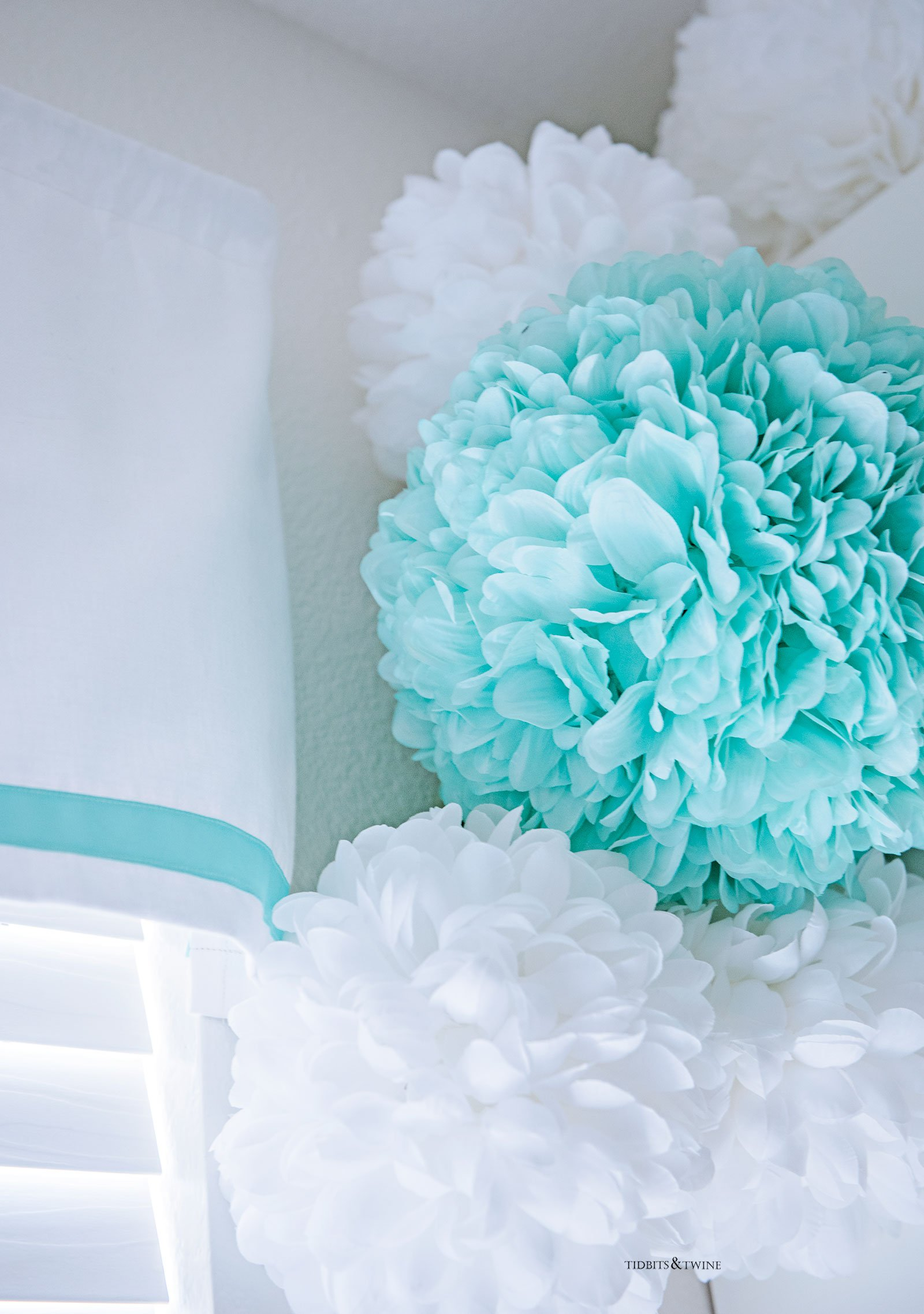 Teen Girl Bedroom with Turquoise and White Pom Poms and Ribbon Valance