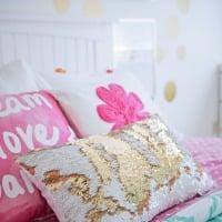 Pink and White Sequin Pillow in Tween Girl Bedroom