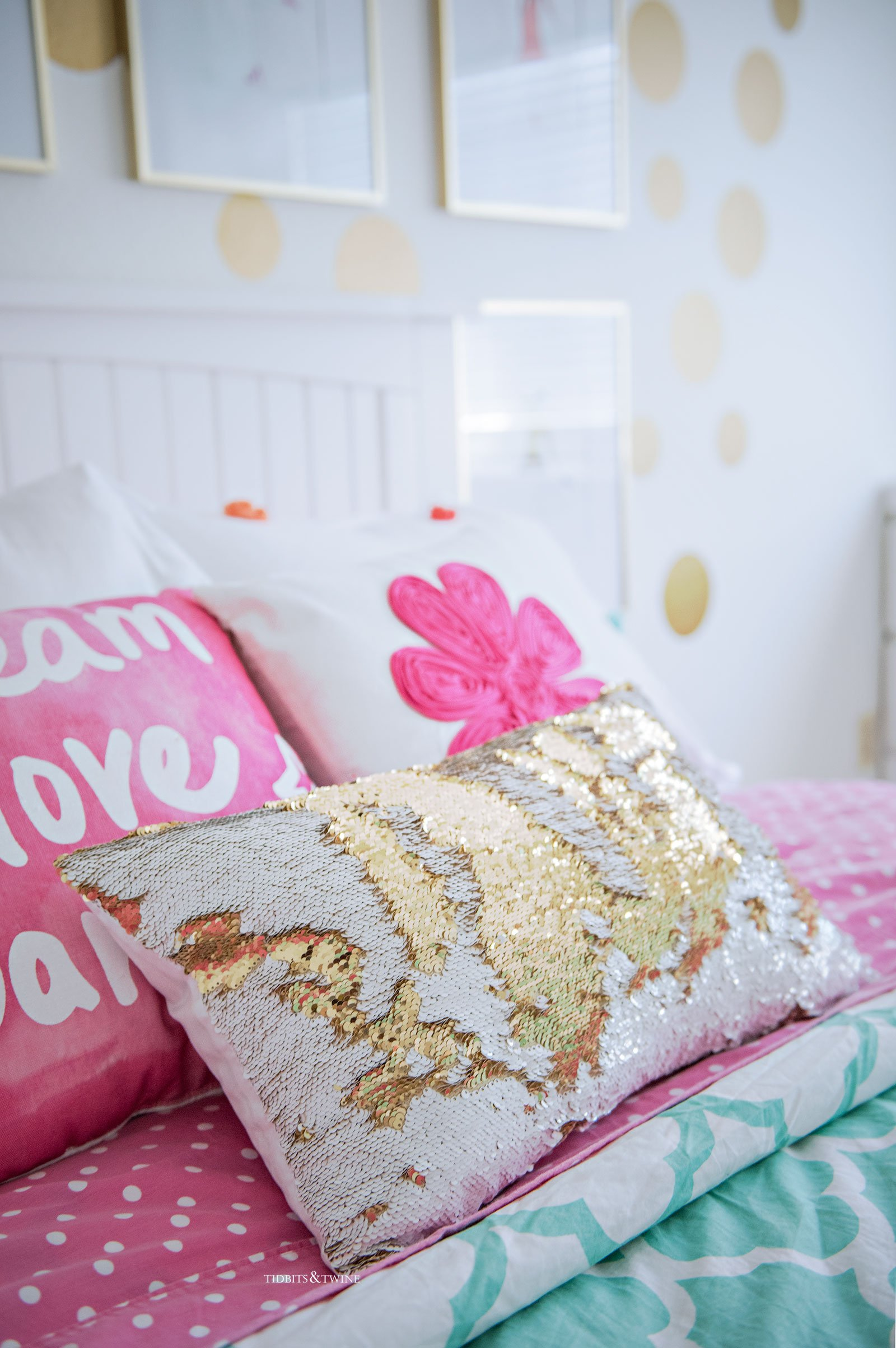 Pink and White Sequin Pillow in Tween Girl Bedroom