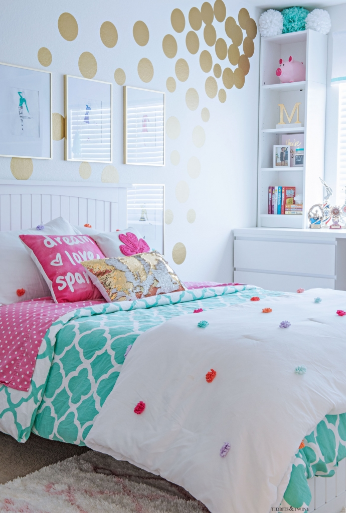 White and turquoise teen girl bedroom. Contemporary with IKEA furniture and gold dot vinyl decals