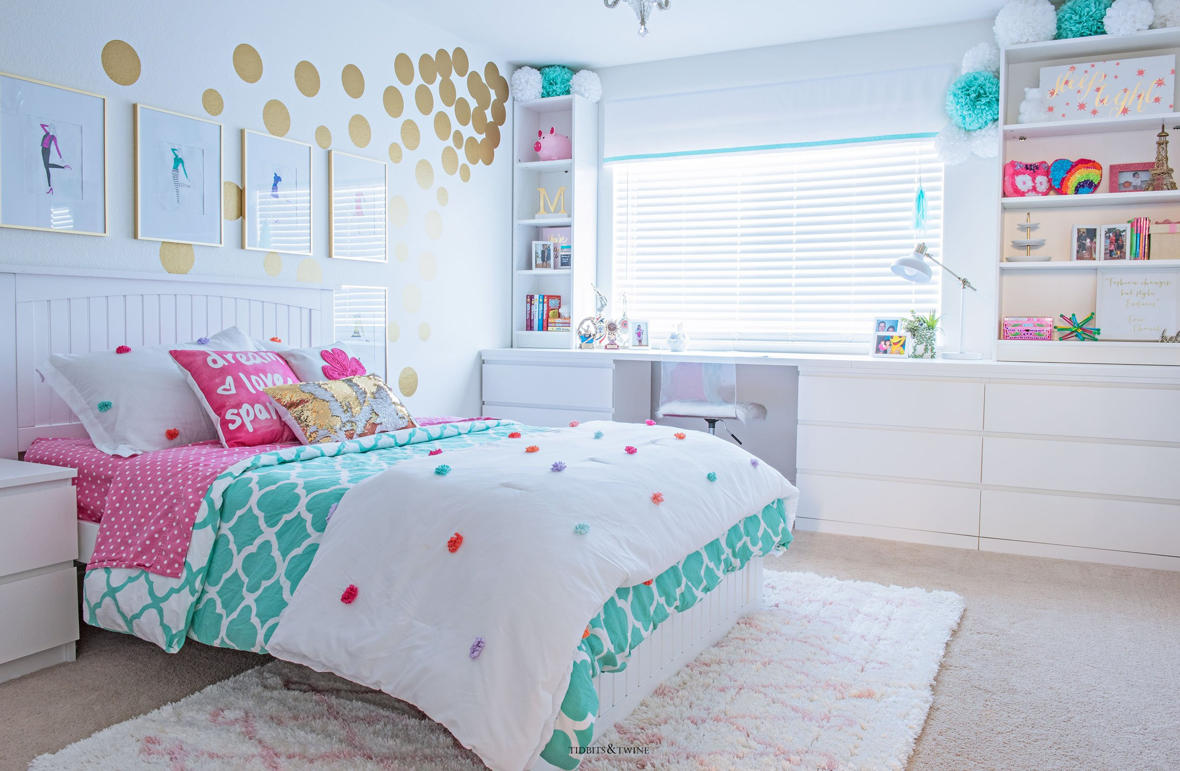 Teen Girl Bedroom Makeover in Turquoise and White and Gold