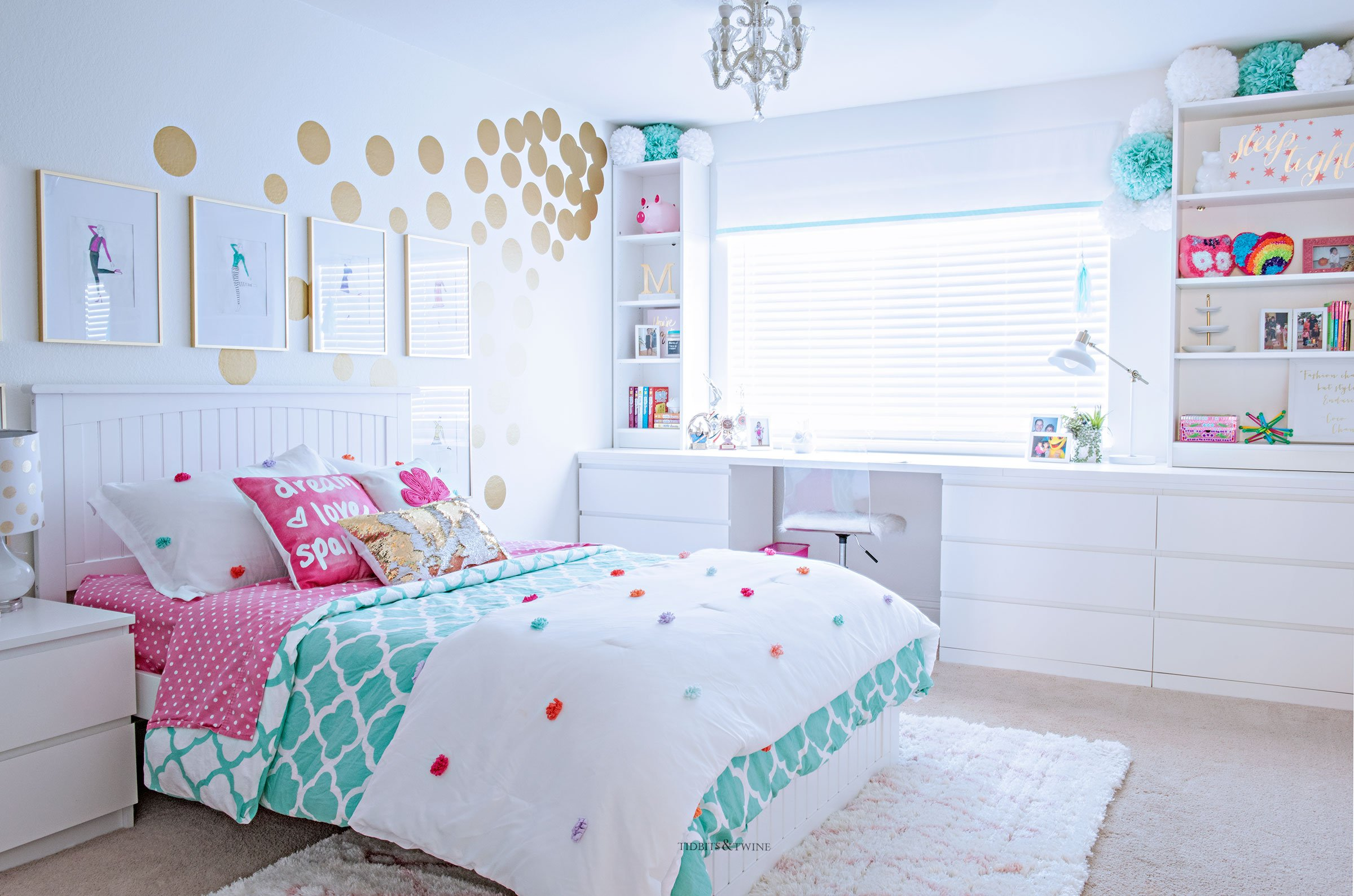 Tween girl bedroom makeover in turquoise and white. Budget-friendly with lots of storage with built-ins around window