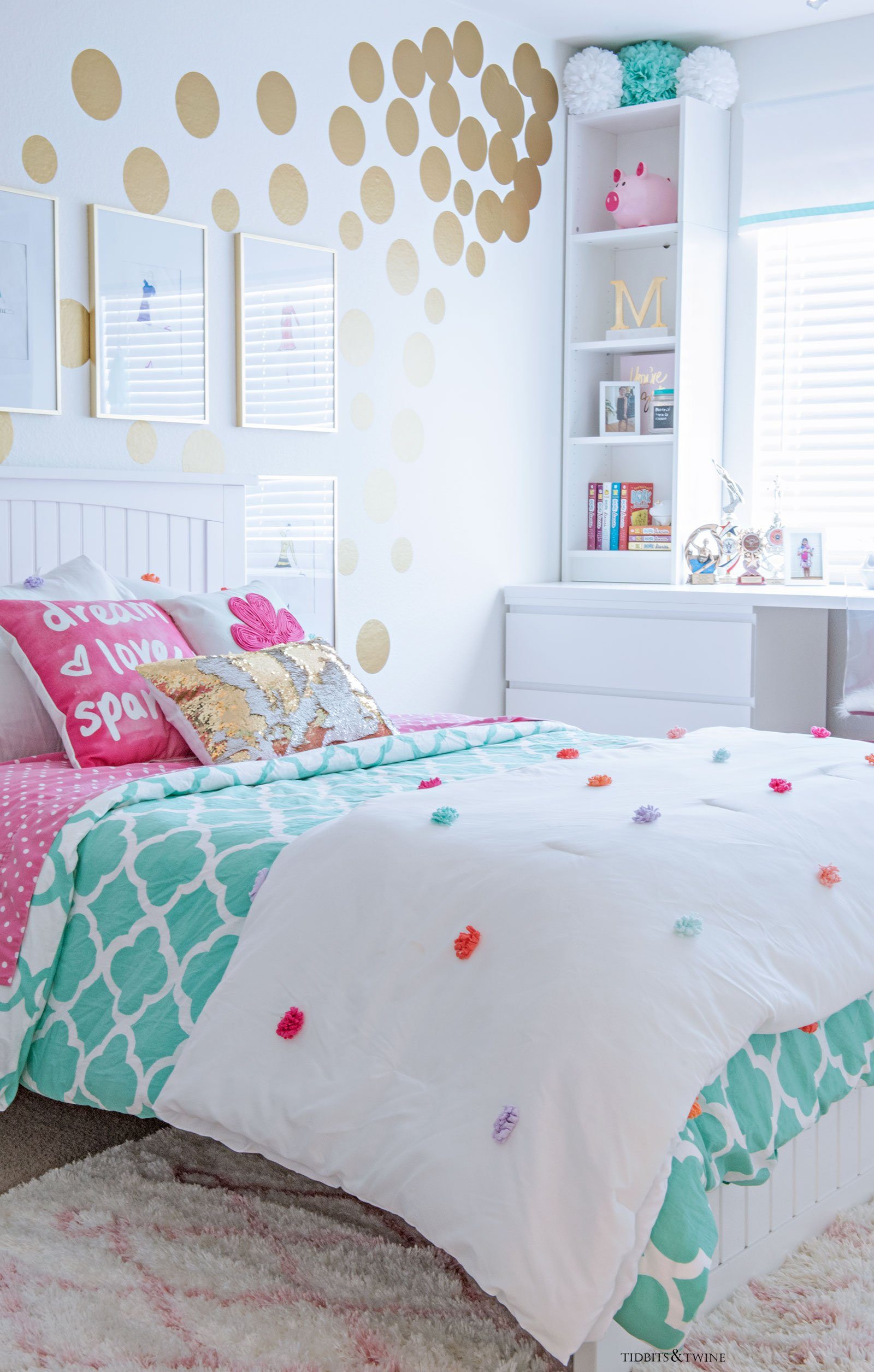 Tween girl bedroom decorating ideas - white and turquoise with pops of gold and pink!