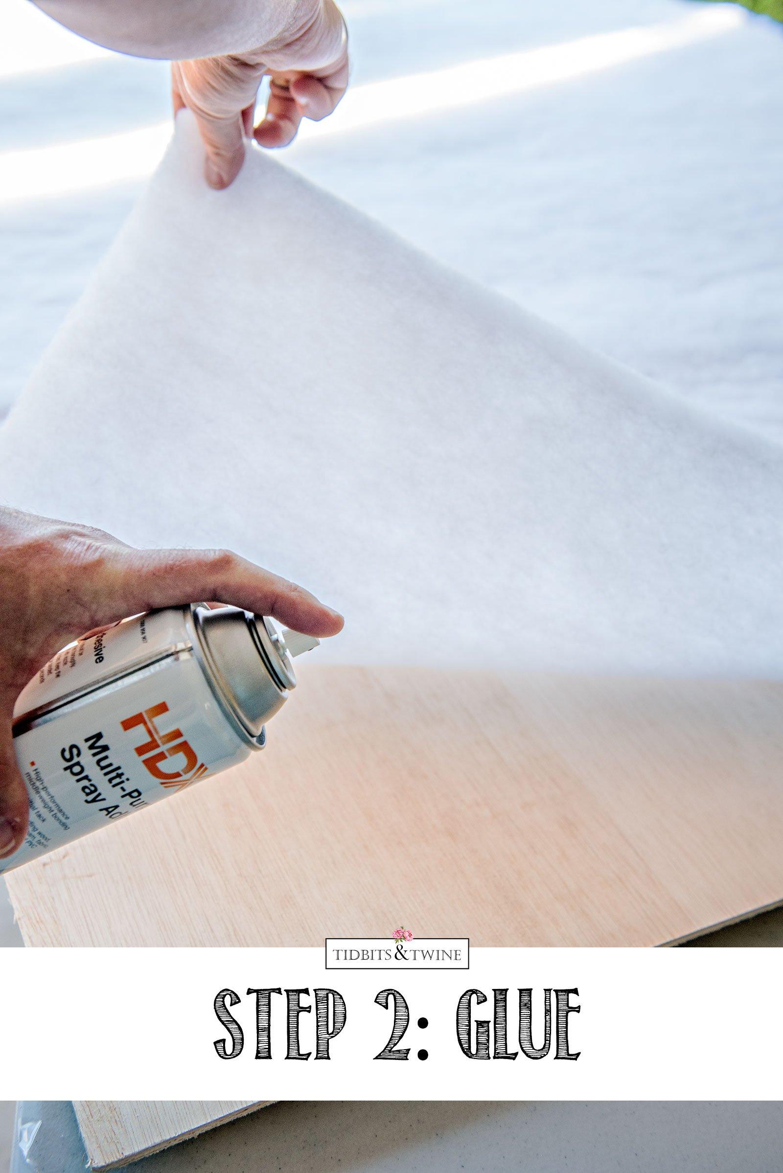 DIY Ribbon Memo Board - Spray Adhesive to Attach Batting to Board