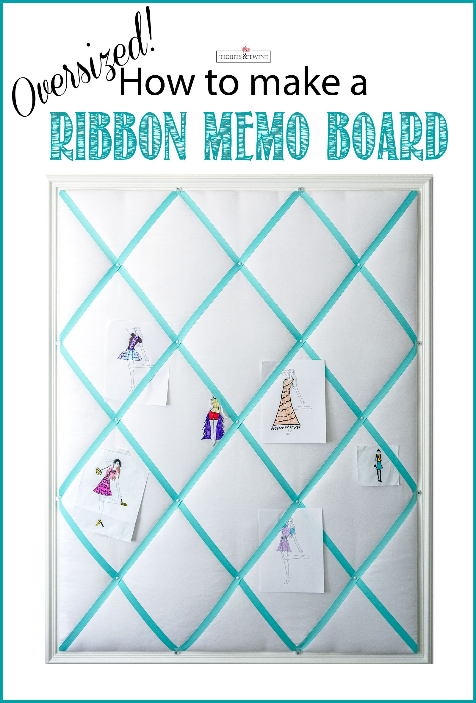 How to Make a DIY Ribbon Bulletin Board - Easy tutorial with step by step instructions and pictures. This one is oversized but use the same steps for smaller