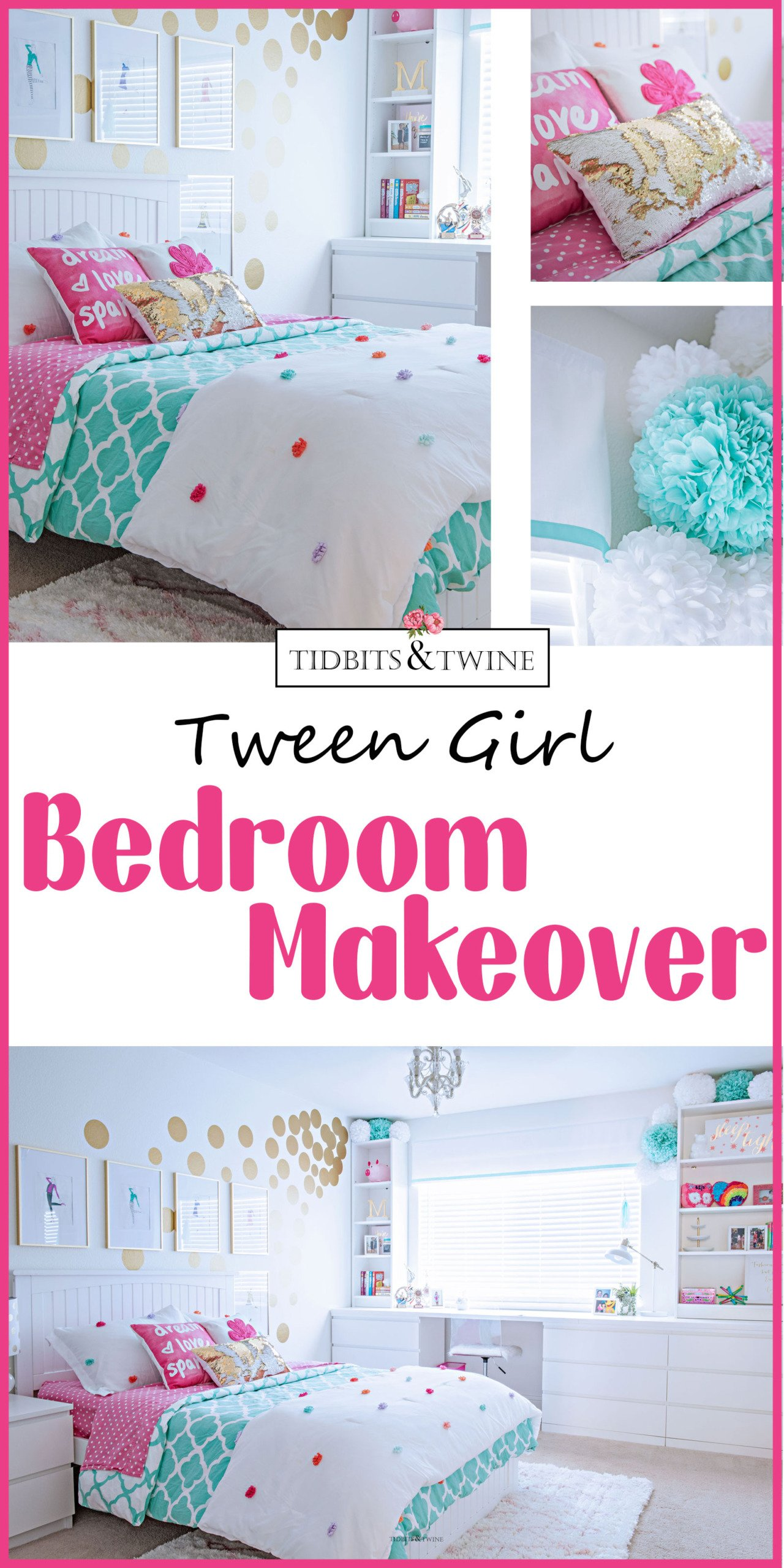 Teen Girl Bedroom Makeover Modern Style with Built-ins Around Window in Turquoise and White