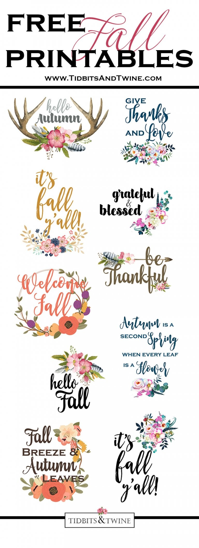 Free Fall Printable – Grateful & Blessed