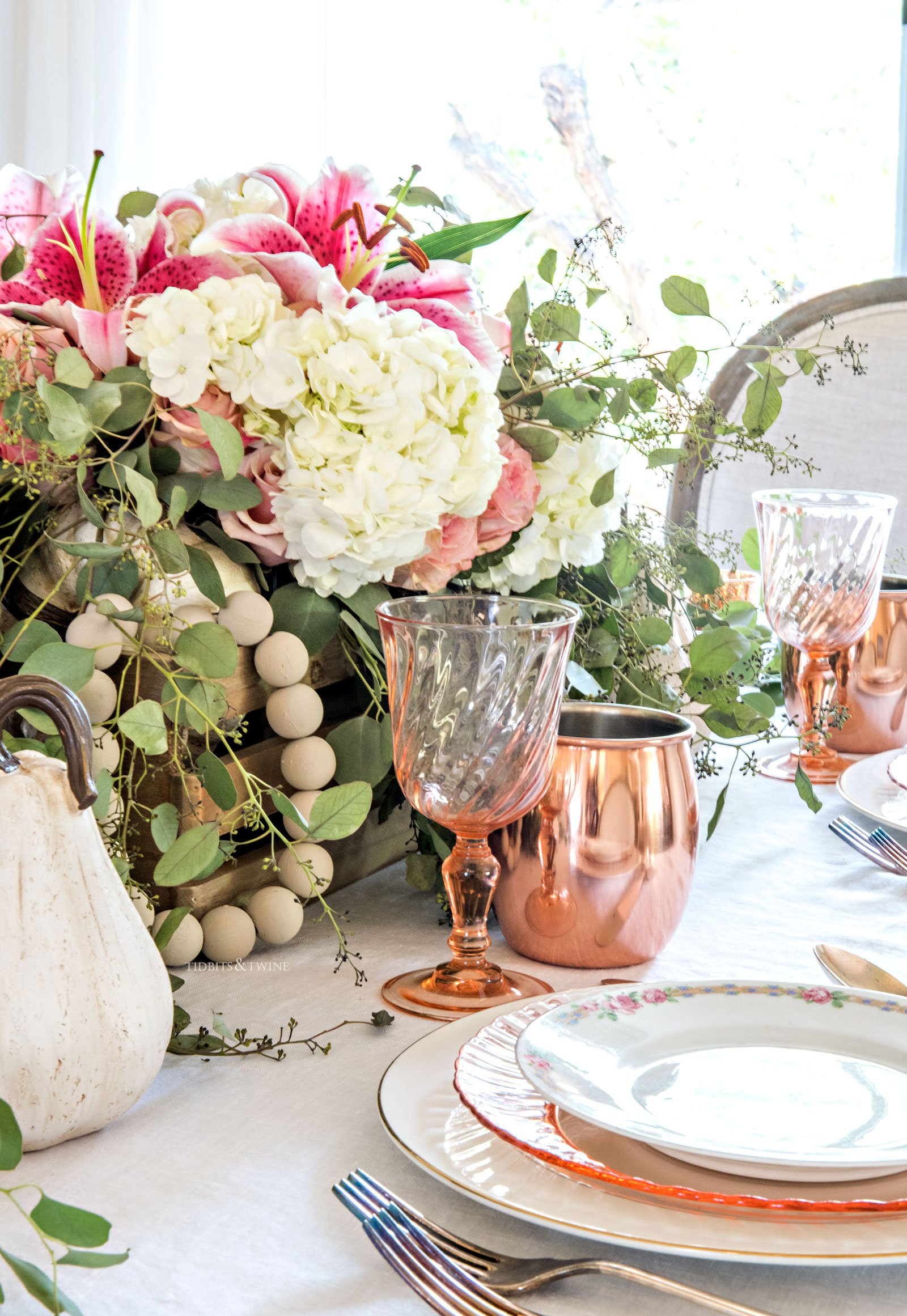 Fall dining room tablescape with copper accents