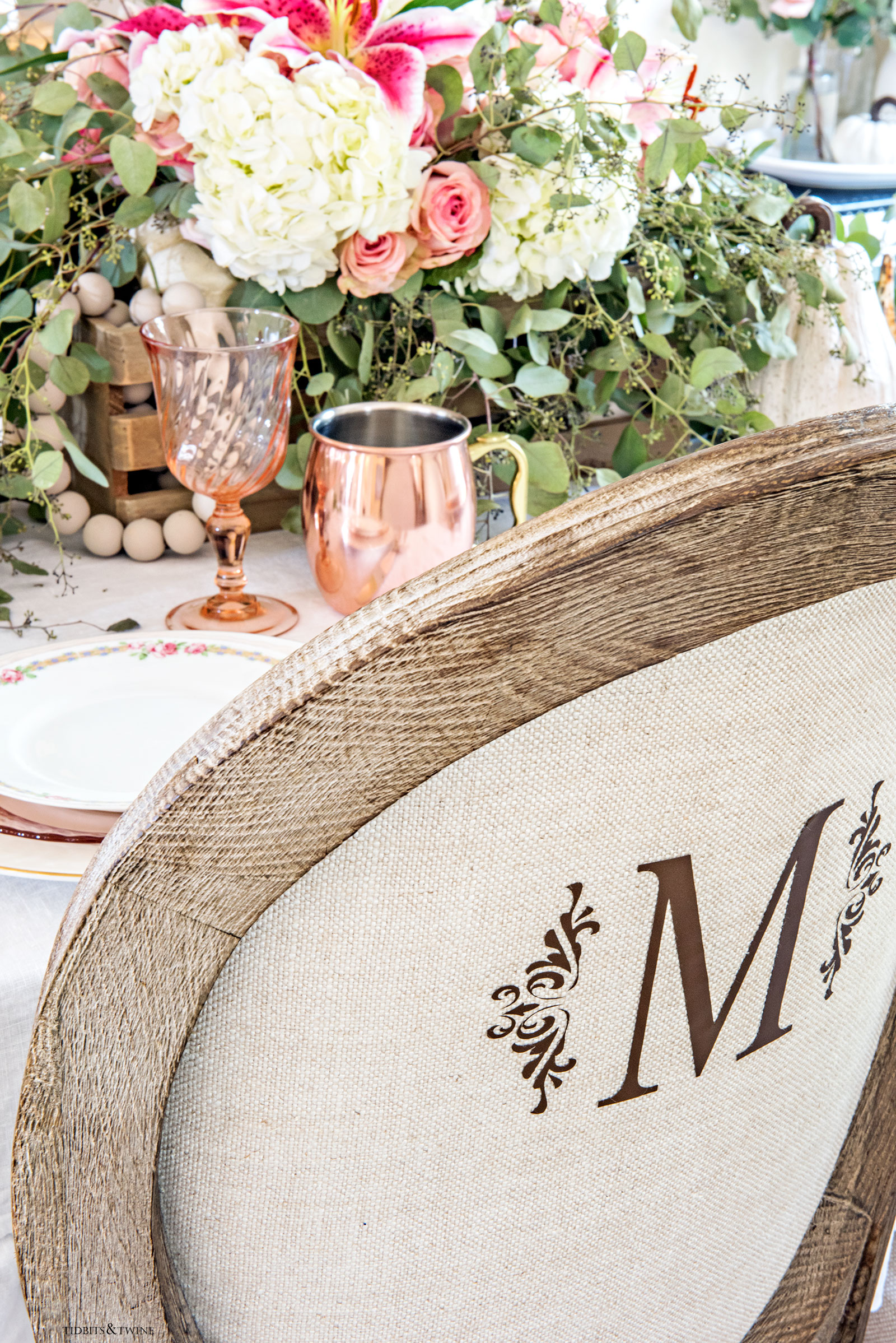 French linen dining chairs with monogram on back