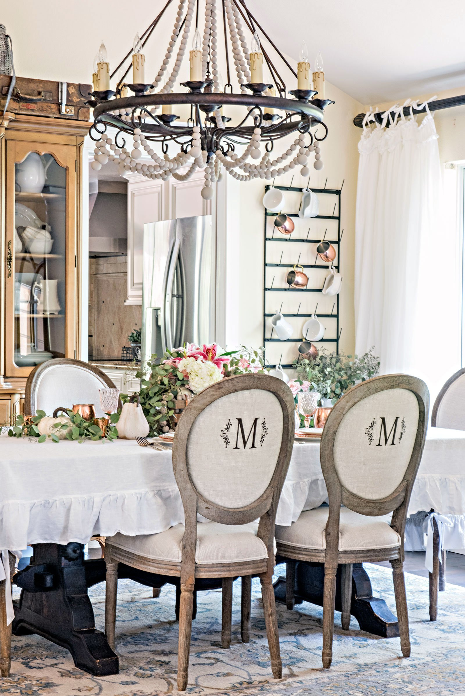 French Farmhouse Dining Room decorated for Fall