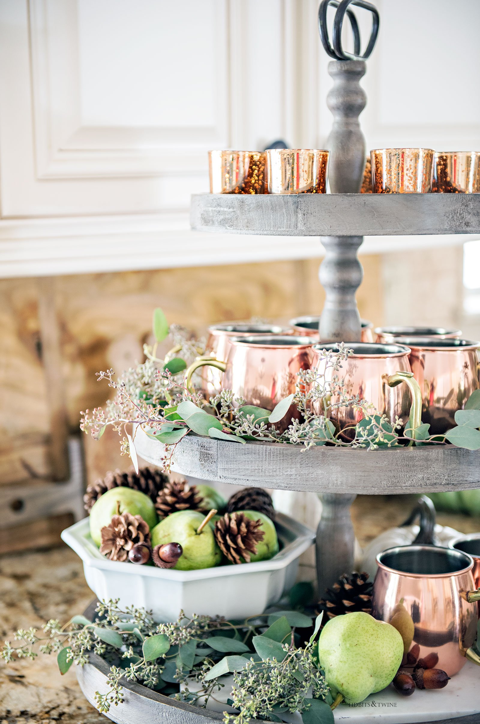 3 tier wooden tray decorated for Fall with copper and eucalyptus French farmhouse style