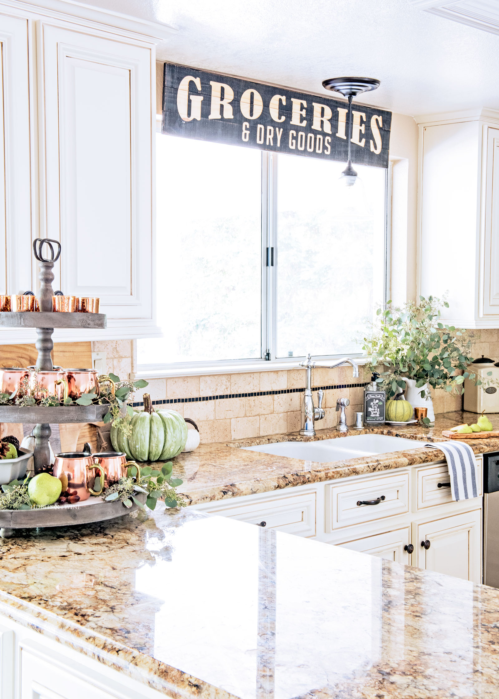 French farmhouse kitchen decorated for fall