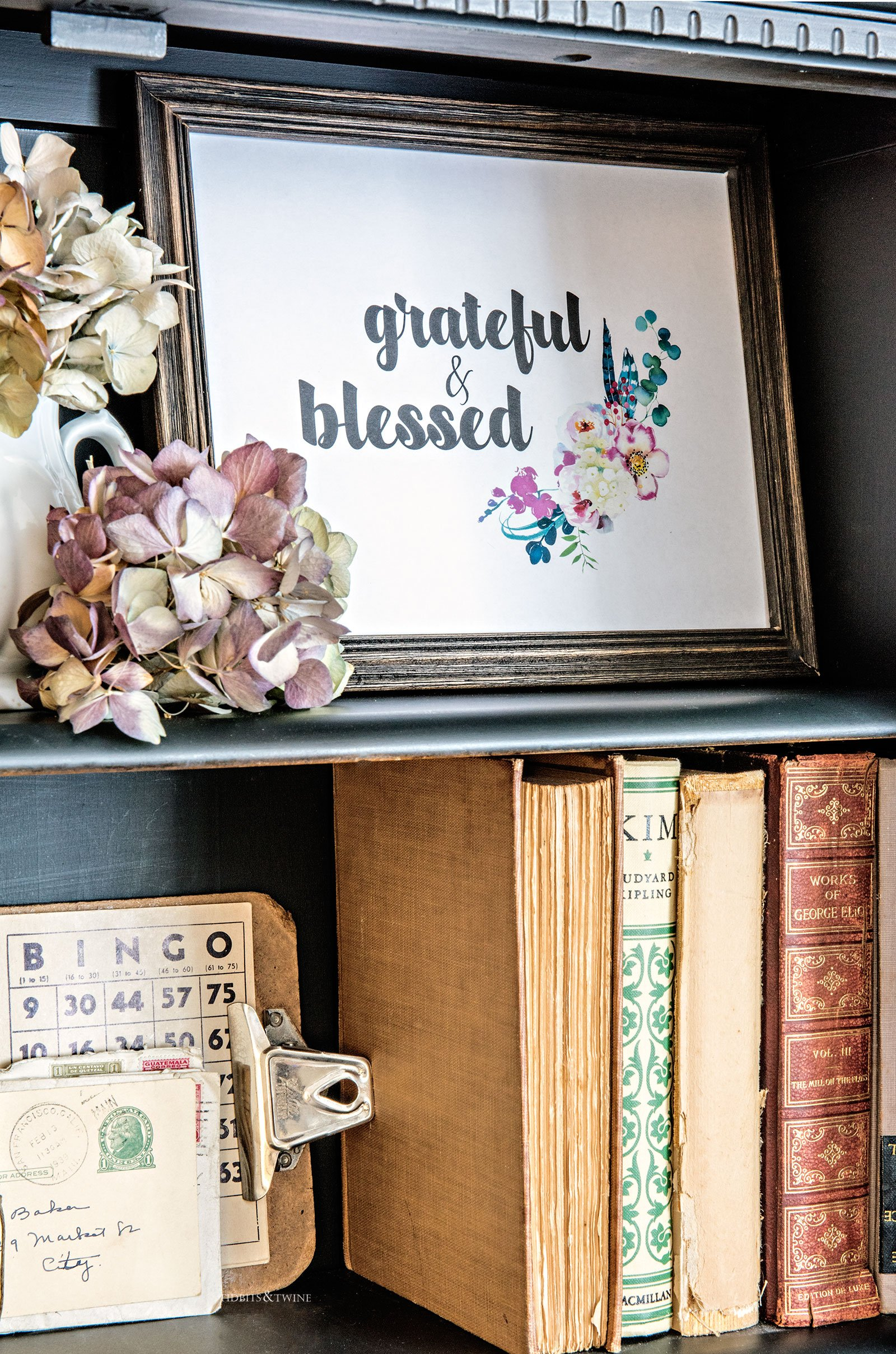 Styled bookshelf with free fall printable