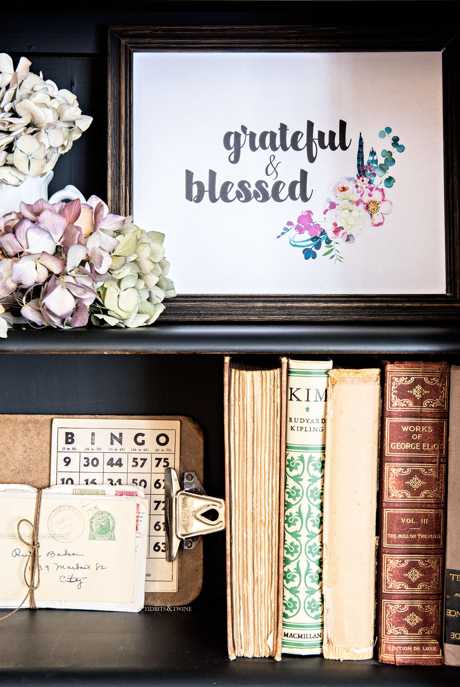 Fall printable is styled bookshevles