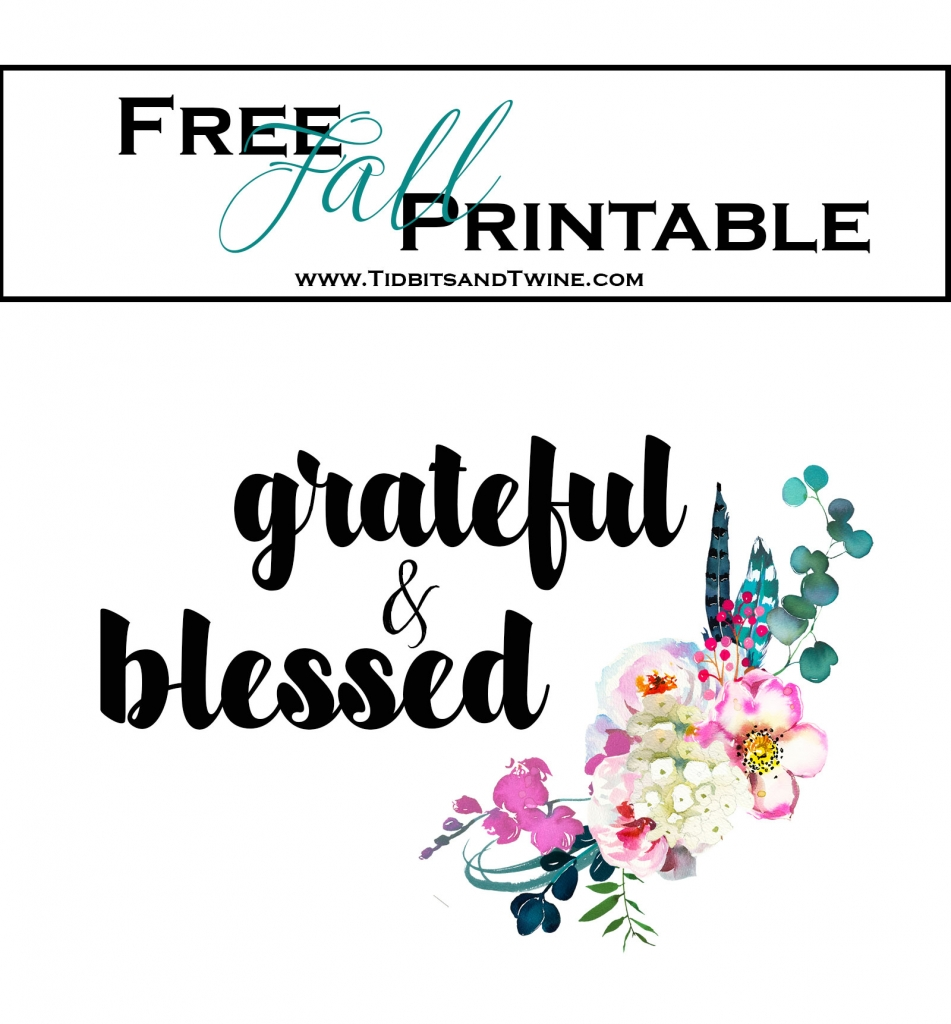 Free fall printable Grateful and Blessed from Tidbits&Twine