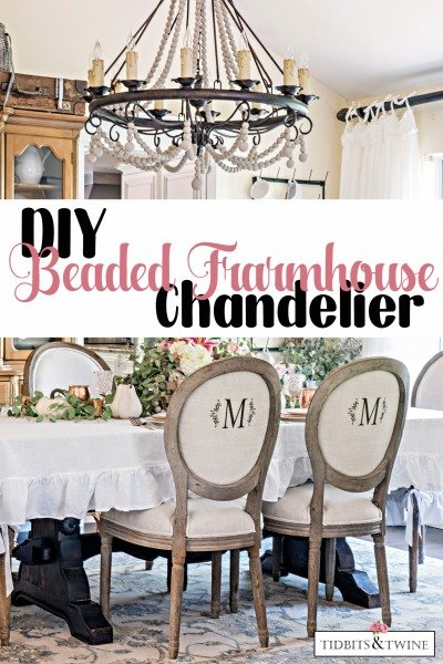 DIY French Farmhouse Beaded Chandelier