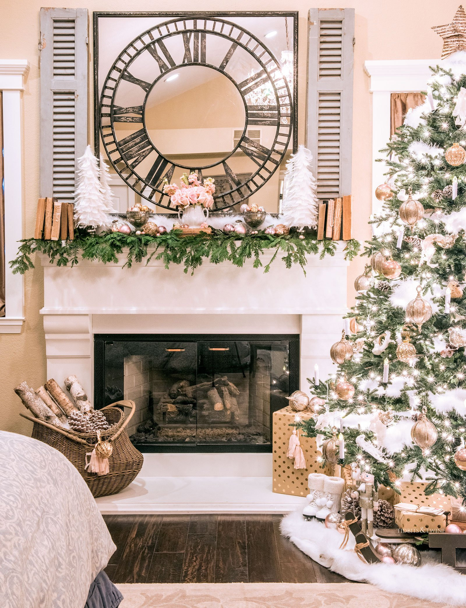 French style bedroom fireplace mantel decorated for Christmas