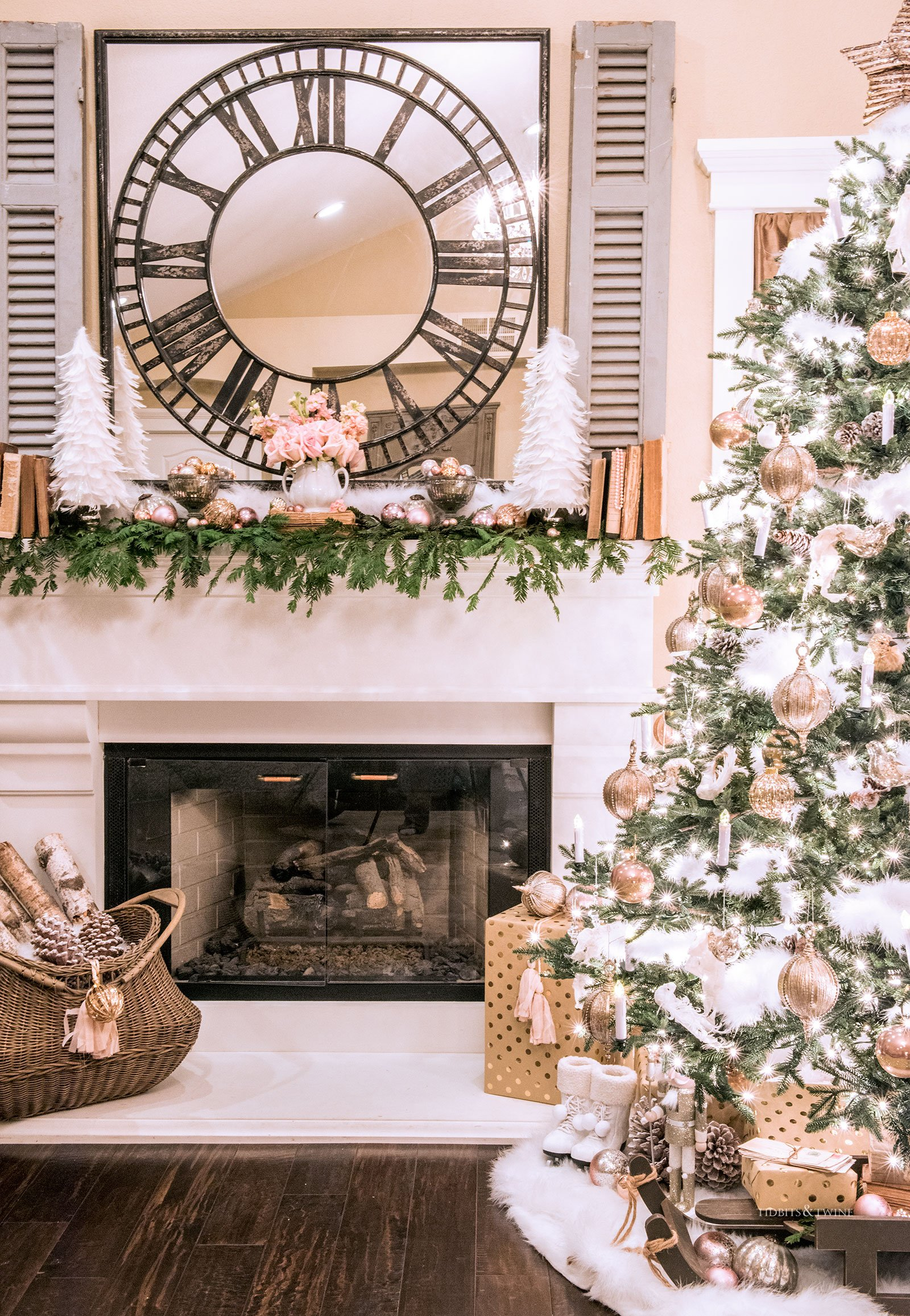 Christmas fireplace mantel with pink gold and white and antique blue shutters