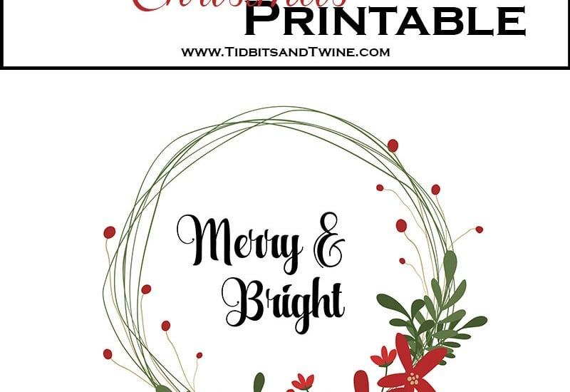 Free Merry & Bright Christmas Printable