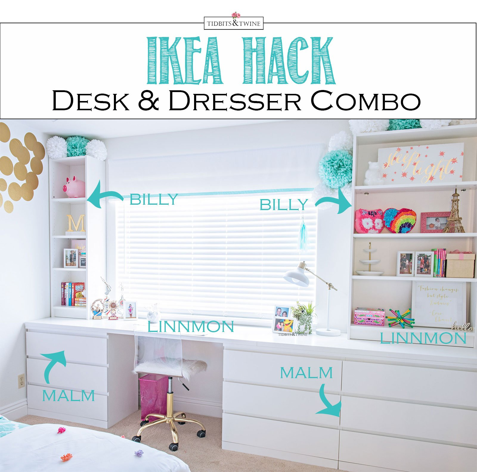 ikea hack custom desk dresser combo tidbits twine. Black Bedroom Furniture Sets. Home Design Ideas