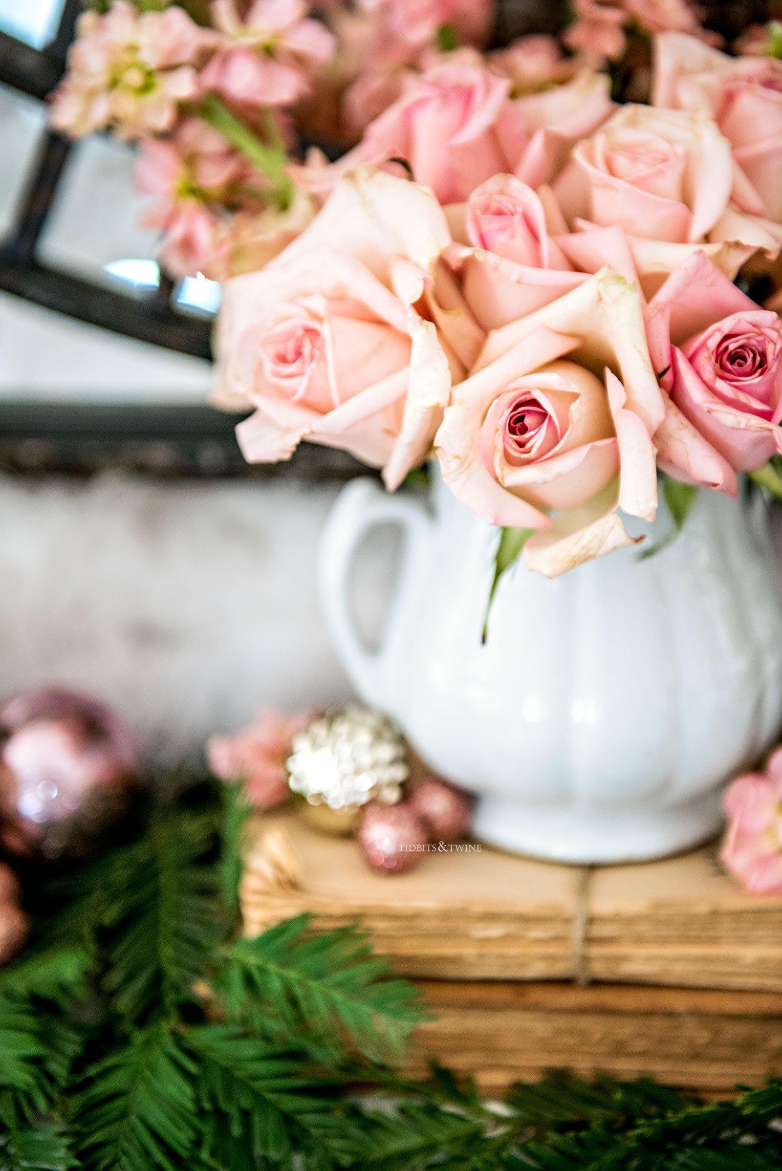 Pink roses and ironstone Christmas display